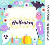 halloween paper template.... | Shutterstock .eps vector #500292727