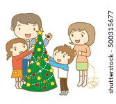 family decorating christmas tree | Shutterstock .eps vector #500315677