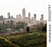 aerial view of san gimignano ... | Shutterstock . vector #500333797