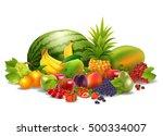 fresh juicy fruit and berries... | Shutterstock . vector #500334007