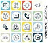 set of 16 universal editable... | Shutterstock .eps vector #500374267