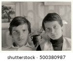 Small photo of THE CZECHOSLOVAK SOCIALIST REPUBLIC - CIRCA 1980s: Vintage photo shows a portrait of two adolescent brothers. Retro black & white photography.