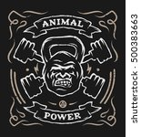 two barbell and head gorilla... | Shutterstock . vector #500383663