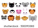 vector set of cute cartoon... | Shutterstock .eps vector #500393383