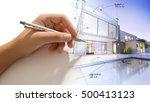 hand drafting a design villa... | Shutterstock . vector #500413123
