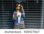 pretty cool girl in colorful... | Shutterstock . vector #500427067