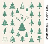 christmas tree icon set. flat... | Shutterstock .eps vector #500441353