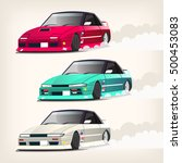 colorful fast drifting cars... | Shutterstock .eps vector #500453083