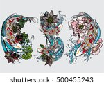 vector set koi with lotus ... | Shutterstock .eps vector #500455243