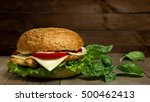 home made hamburger with cheese ... | Shutterstock . vector #500462413