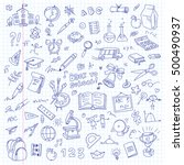 freehand drawing school items... | Shutterstock .eps vector #500490937