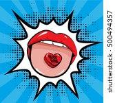 pop art woman lips with candy... | Shutterstock .eps vector #500494357