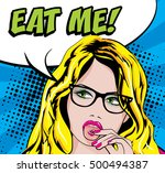 pop art woman with glasses  ...   Shutterstock .eps vector #500494387