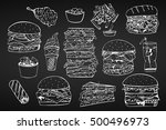 vector set of fast food.hand... | Shutterstock .eps vector #500496973