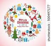christmas and new year card... | Shutterstock . vector #500497177