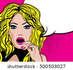 pop art excited woman with