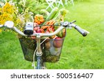 bicycle basket filled with... | Shutterstock . vector #500516407