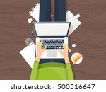 workplace with hands and laptop.... | Shutterstock . vector #500516647