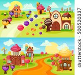 landscape sweets and candy... | Shutterstock .eps vector #500520337