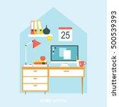 home office space desk flat...   Shutterstock .eps vector #500539393