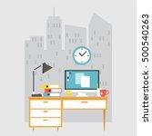 office desk workplace flat...   Shutterstock .eps vector #500540263