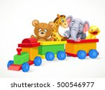 toy train with soft toys...