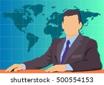 leading news on world map... | Shutterstock .eps vector #500554153