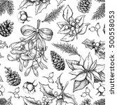 christmas botanical seamless... | Shutterstock .eps vector #500558053
