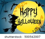 silhouette of young witch... | Shutterstock .eps vector #500562007