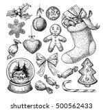 christmas object set. hand... | Shutterstock .eps vector #500562433