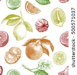 seamless pattern with lemons ... | Shutterstock . vector #500571037