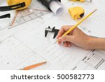 hand over construction plans... | Shutterstock . vector #500582773