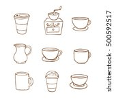 coffee icon handrawn style ... | Shutterstock .eps vector #500592517