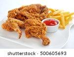 crispy fried chicken broast... | Shutterstock . vector #500605693