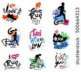 running  marathon  triathlon...   Shutterstock .eps vector #500664313