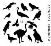 Set Of Birds Silhouettes Vecto...