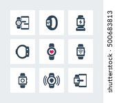 smart watch icons set isolated...