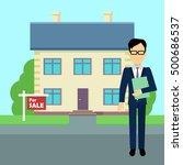 real estate broker at work.... | Shutterstock . vector #500686537