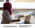 muslim woman working with... | Shutterstock . vector #500688757