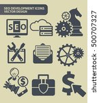seo development icon set clean... | Shutterstock .eps vector #500707327
