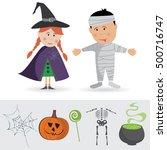 happy halloween vector. set of... | Shutterstock .eps vector #500716747