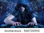 young hacker in data security... | Shutterstock . vector #500720593