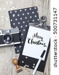 creative christmas card with an ... | Shutterstock . vector #500731147