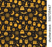 seamless halloween gold... | Shutterstock . vector #500735467