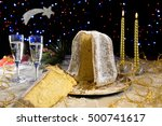 pandoro cake and champagne... | Shutterstock . vector #500741617