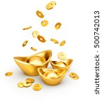 gold coins dropping on gold... | Shutterstock . vector #500742013