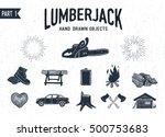 hand drawn lumberjack textured... | Shutterstock .eps vector #500753683