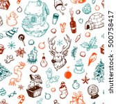 pattern with winter elements.... | Shutterstock .eps vector #500758417