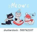 funny cats vector concept. flat ...