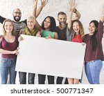 people friendship arms raised...   Shutterstock . vector #500771347